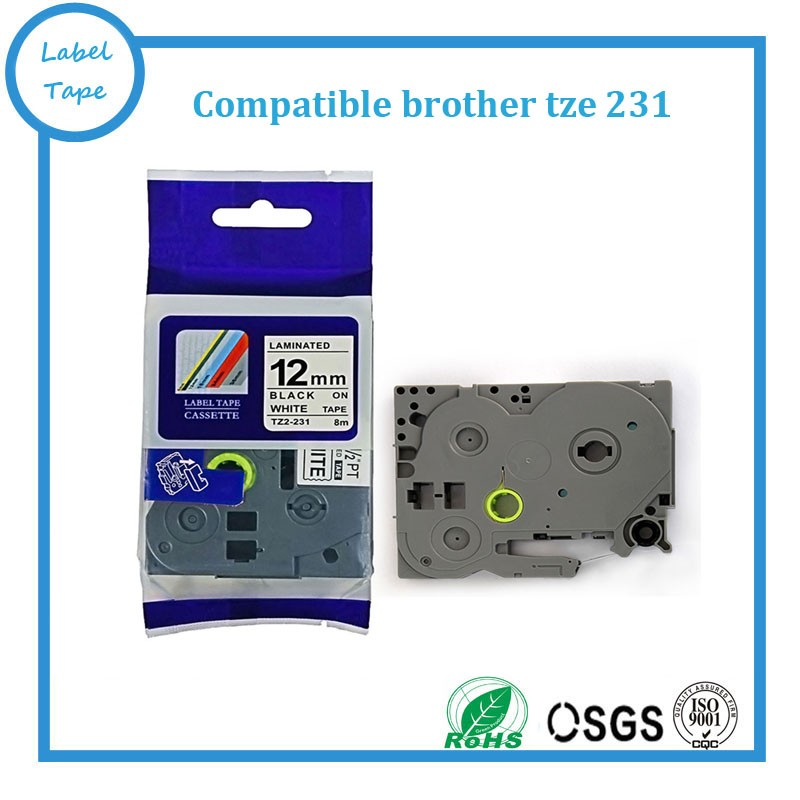 Free shipping 10pk/lot 12mm black on white brother tze231 tz-231 tze-231 Compatible brother tze label tapes