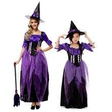 Los niños de halloween niña o mujeres witch dress costume trajes de cosplay del partido púrpura rendimiento ropa
