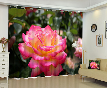 2017 pink Chinese rose photo Blackout Window Drapes Luxury 3D Curtains For Living room Bed room Office Hotel Home Wall Tapestry