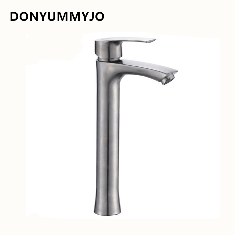 DONYUMMYJO 1pc 304 stainless steel Heightening Hot And Cold Basin Faucet Bathroom Sink Basin Washbasin Glass Faucet Tap wall of the cold and hot water tap copper concealed washbasin single hole basin faucet stainless steel waterfall faucet lt 304 4