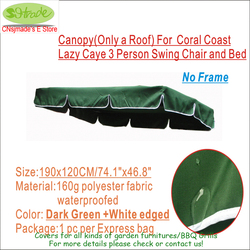 Free shipping Canopy  Replacement   for  Coral Coast Lazy Caye 3 Person Swing Chair and Bed-- 74.8x47/190X120cm Dark green