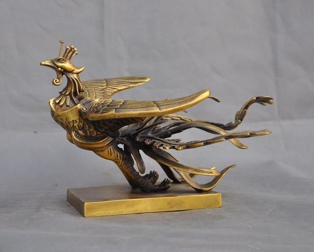 크리스마스 중국어 FengShui 황동 구리 길조 공작 피닉스 조류 신화 야수 동상 할로윈