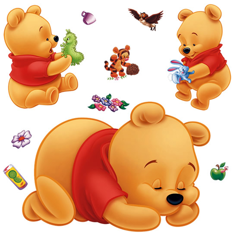3d Winnie The Pooh Wall Stickers For Baby Bedroom Cartoon Kids Room Nursery Children Wall Decals