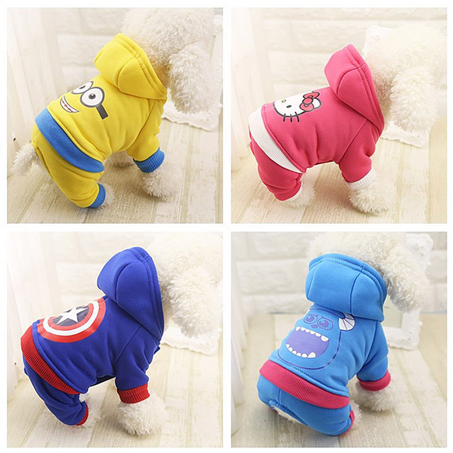 Minions/ Captain America/Hello Kitty/Hairy monster Pets Dogs Clothes Coat Cute Dog Padded Winter Dog Suit XS-XXL Free Shipping