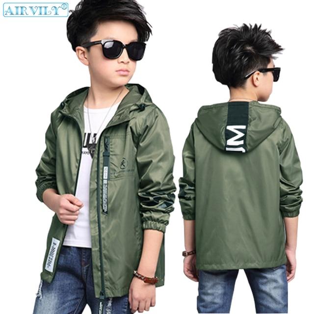 daf9b329d76e Boys Hooded Jacket Autumn Windbreaker For Teenage Boy Outerwear Spring  Children Coats Kids School Clothes Teens