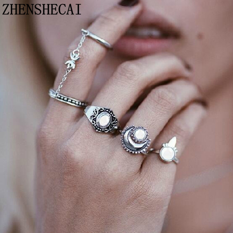 Rings Games 5 unids Antique Bohemian round Moon Carved Vintage Finger Rings Womens Midi Ring sets Jewelry HOT Beach nj89