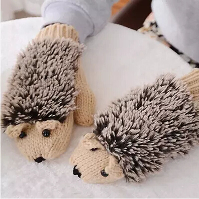Hot Winter Womens Gloves Cute Cartoon Hedgehog Pattern Wool