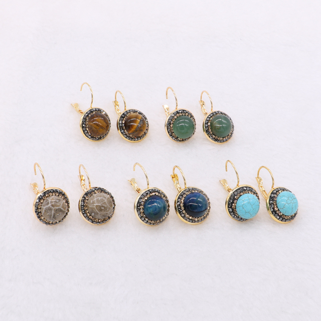 Natural Stone Druzy Earrings Stud Round Polished High Quality Mix Color 1078