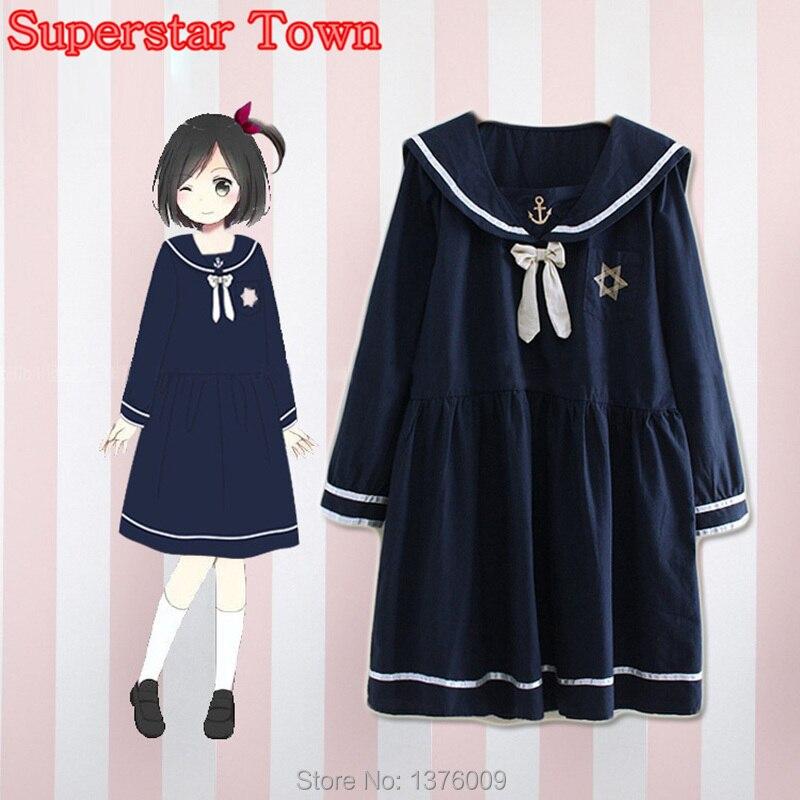 Navy Blue Sailor Dress With Bow Lolita Mori Girl Harajuku -1831