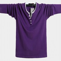 Free shipping autumn Men T shirt Long Sleeve v neck Mens T shirt Cotton purple Tees Tops Mens Brand tshirt Plus size M 5XL 6XL