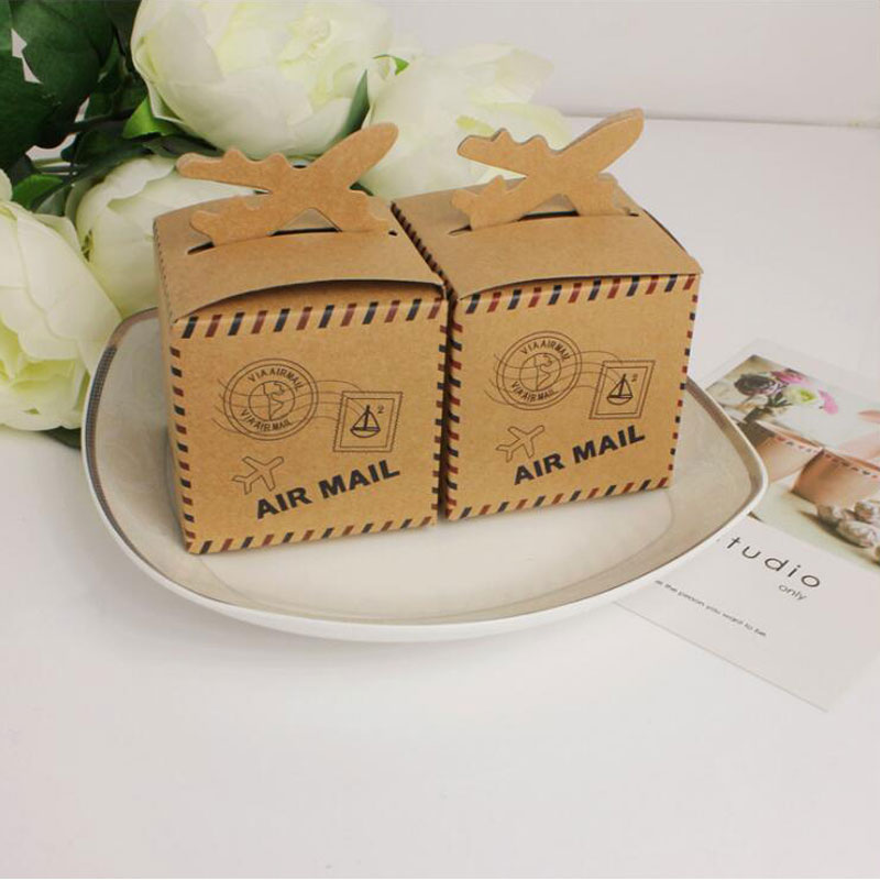 AVEBIEN 50pcs Wedding Favors Gift Box Air Mail Shape Suitcase Candy Box for Wedding Decoration Supplies Chocolate Box Sweet Bags