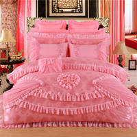 2018 New Silk Cotton Satin Luxury Jacquard Lace Wedding Bedding Set Embroidered Duvet cover set Bedspread Queen King 4/6/8/10pcs
