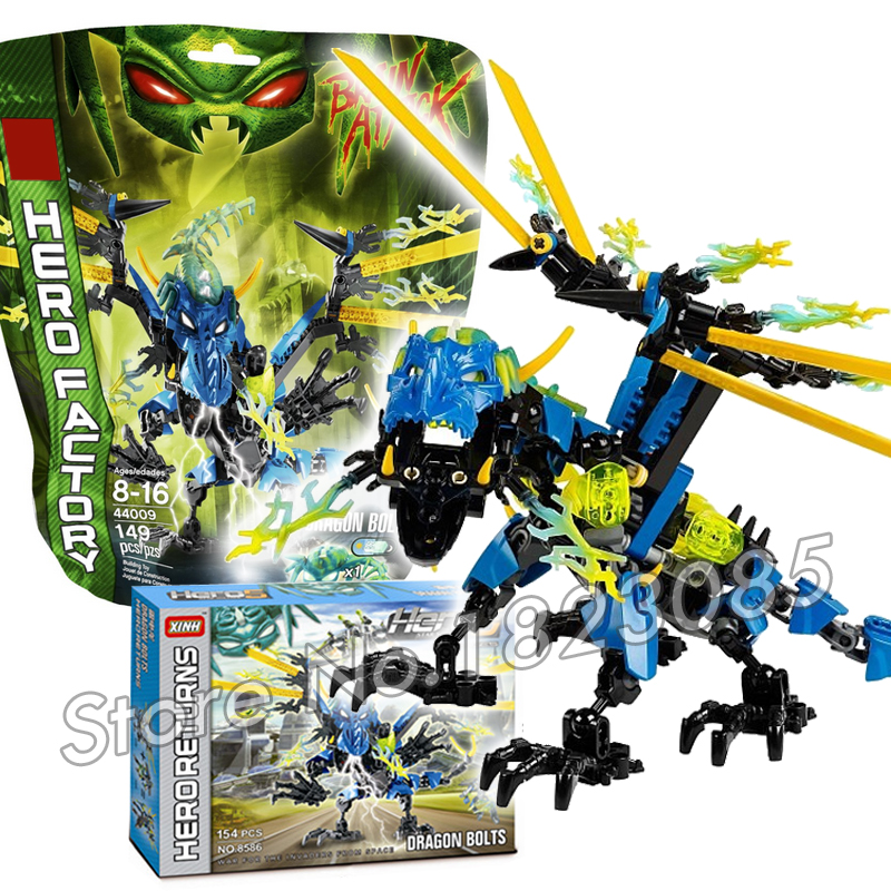 154pcs Bela Hero Factory Brain Attack Dragon Bolt Model Building Bricks DIY Figures Minifigures Toys Compatible