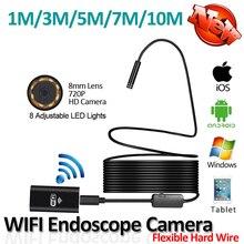 HD720P 2-МЕГАПИКСЕЛЬНАЯ 8LED 8 мм Объектив Гибкая Змея Жесткий Провод USB WI-FI Android Iphone Камеры Эндоскопа 10 М 7 М 5 М 3 М 1 М Трубы Инспекции Cam