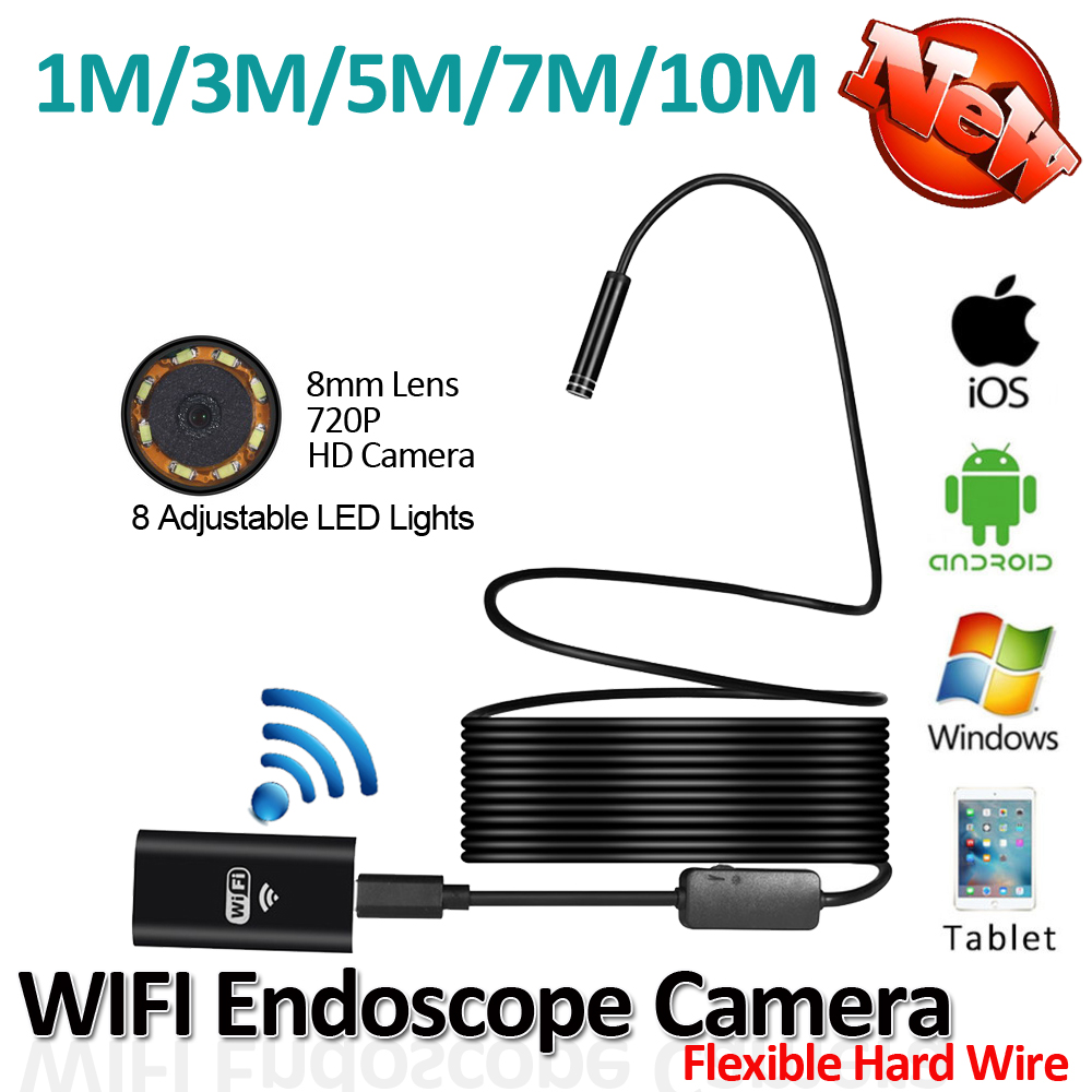 bilder für HD720P 2MP 8LED 8mm Objektiv Flexible Snake Hard Draht USB WIFI android iphone endoskop kamera 10 mt 7 mt 5 mt 3 mt 1 mt rohrleitungsinspektionen Cam