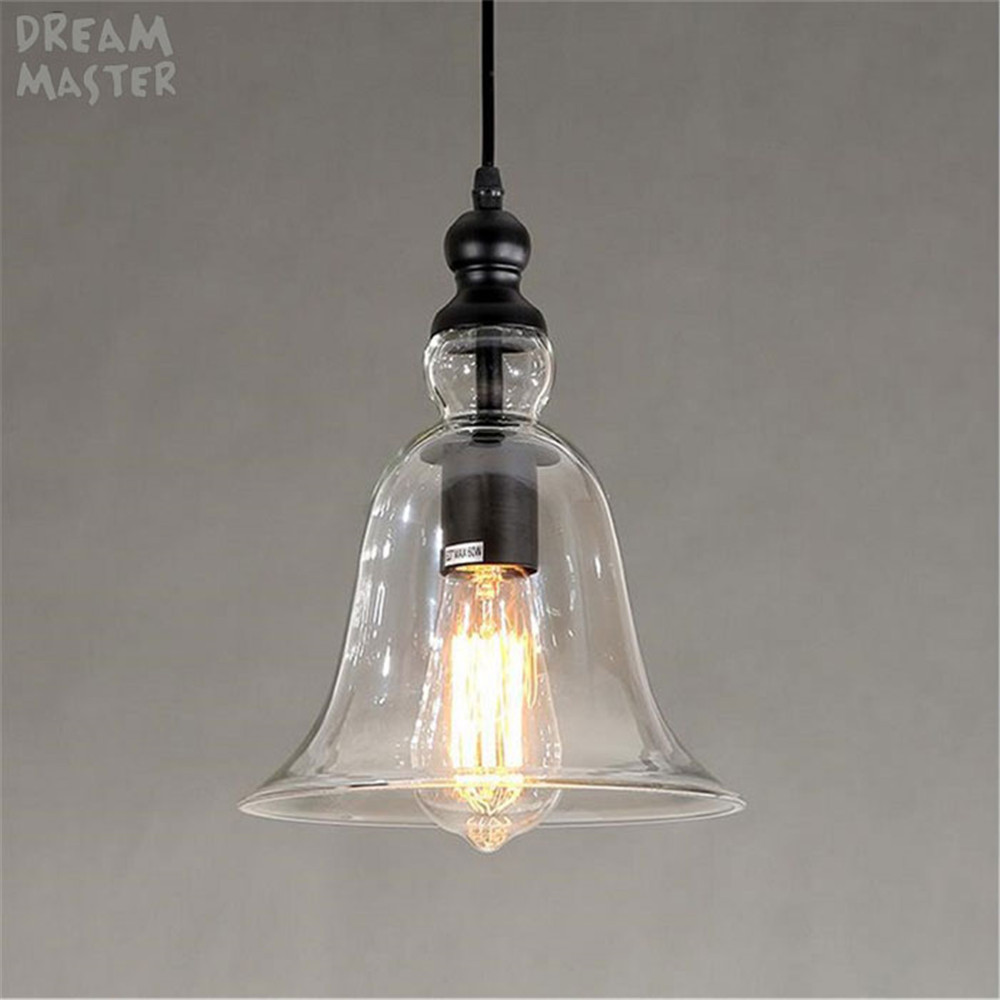 Traditional Industrial Clear Glass Shade chandeliers Hanging Light E27 110V 220V for dinning room home bell