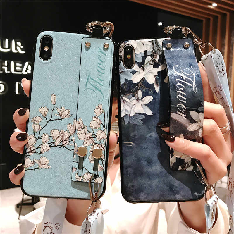 Lanyard Polsband Houder Stand Case Voor OPPO A9 A79 A83 A1 F11 Pro F5 A73 A75 F7 Jeugd realme 1 2 3 X Reno 5G Siliconen Cover