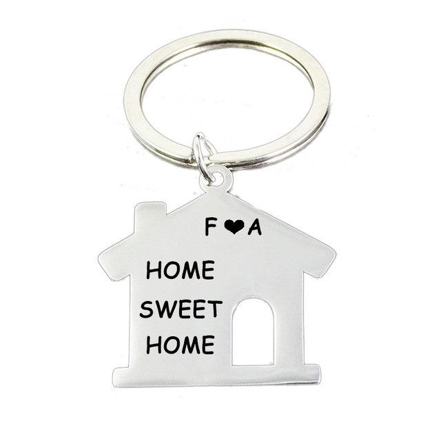 Personalized House Key Chain Stainless Steel Engraved House Charm KeyRings   58ca234664ea