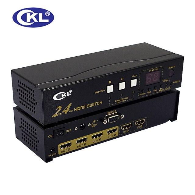 CKL-224H Alta Calidad 2 en 4 de cada Conmutador HDMI Splitter soporte 1.4 V 3d 1080 p para ps3 ps4 para xbox 360 pc dv dvd hdtv