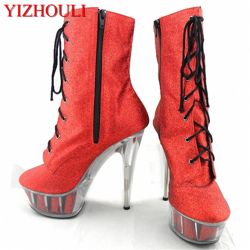 Classics 15cm Sexy High Heels Shoes Platform Round Toe Short Boots Sexy Ankle Boots 6 Inch Crystal Shoes 6 inch platform side zipper fashion boot women top bows suede sexy 15cm ultra high heels short boots martin crystal shoes