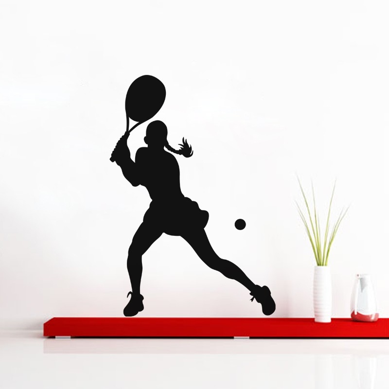 Fierce Female Tennis Player Wall Decal Vinyl Removable Wall Stickers Home Decor Living Room adesivo de parede Art Mural ZA214