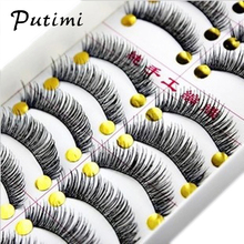 Putimi 10Pairs Natural Long False Eyelash Handmade Makeup Fake Eyelashes Extension Volume Upper Eye Lashes Mink