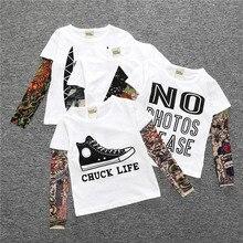 Niño niña ropa de algodón camiseta de manga larga niños camiseta Camisas novedad tatuaje manga Camisas bebé Tops primavera y otoño niños