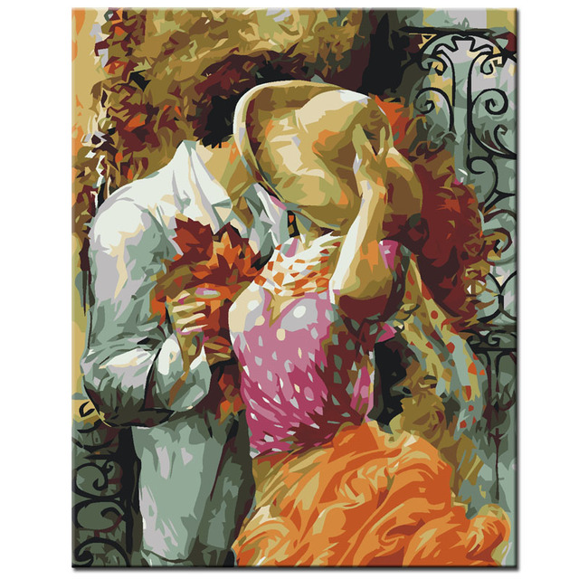 Qluo Oil Painting Exquisite Home Decor Man And Women Lovers Picture By Numbers On Canvas Diy Gift Handwork Wall Art