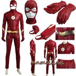 2017 O Flash Cosplay Barry Allen Superhero Halloween Costume Outfit Adulto Homens Terno todos os Acessórios