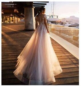 Image 2 - לורי Boho חתונה שמלת 2019 תחרה אפליקציות עם פרחי טול אונליין סקסי ללא משענת חוף הכלה שמלת חתונת שמלה