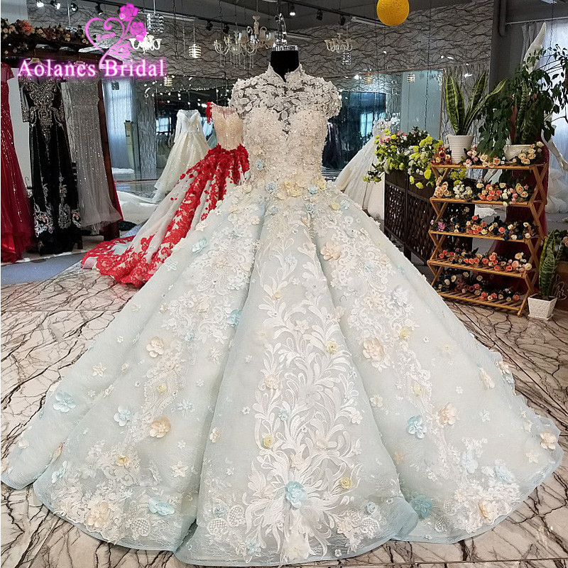 AOLANES 2018 Sleeveless Blue Tulle Lace Bridal Gowns High Royal Train Ball Gown Wedding Dresses Vestido De Noiva Real Photos