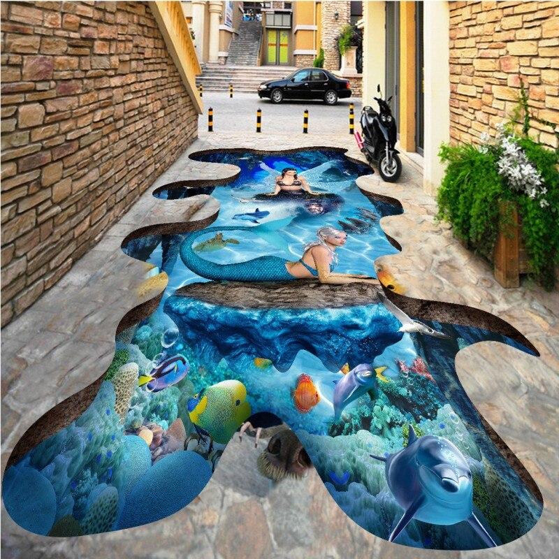 ФОТО Free Shipping Mermaid outdoor 3D flooring painting wallpaper living room office kitchen floor mural