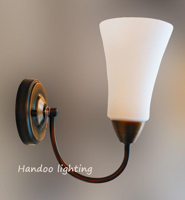 Kostenloser versand kurze wandleuchten Weiß glas kupfer farbe eisen ...