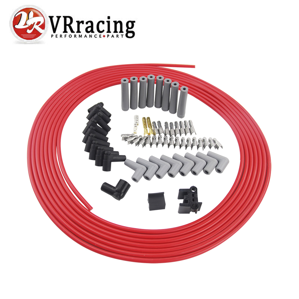 VR RACING 10m set Spark Plug Wires Spiral Core 8 5mm Red For Chrysler Hemi Pro
