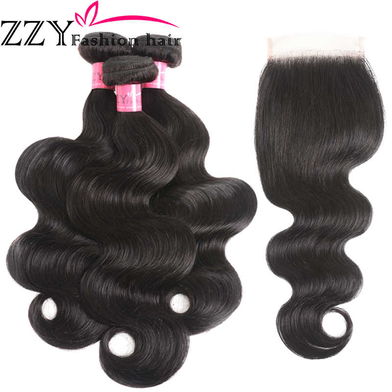 ZZY אופנה שיער פרואני גוף גל 3 חבילות עם סגירת ללא רמי שיער ערב שיער טבעי