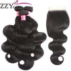 ZZY Fashion волосы перуанские Волнистые 3 пучка с закрытием не Реми пучок натуральных волос