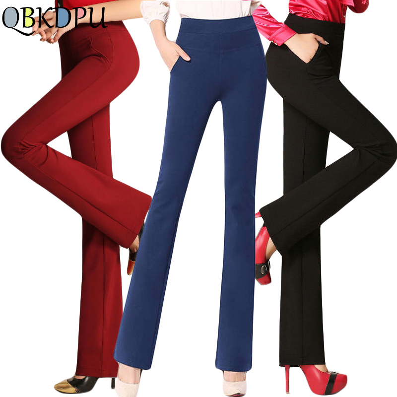 Black Elegant Office Lady High Waist Flare Pants 2019 New Women Plus Size Stretch Trousers Casual Solid Minimalist Formal Pants