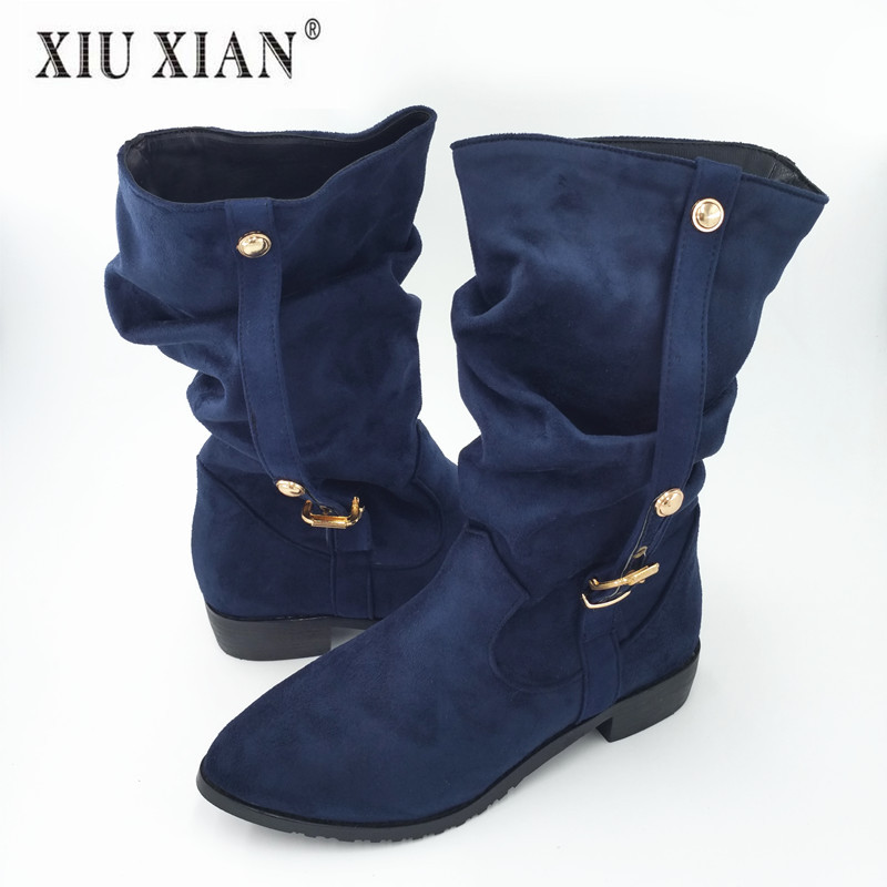 Plus Size Fashion Autumn Winter Mid-calf Women Boots Pointed Toe Metal Decoration Rubber Sole Ladies Boot with Warm Plush Inside universe women flats 2017 new fashion pointed toe with metal decoration g046
