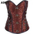 Steampunk Corset Gothic Brocade Buckle Punk Steel Boned Corset with Chain Plus Size Waist  Corsets and Bustiers S-6XL