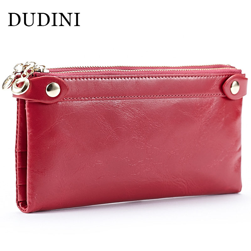 DUDINI Fashion Long Design Card Wallet For Women Genuine Leather Female Coin Purse Double Zipper Women Wallets Clutch Bags hot sale women wallets fashion genuine leather women wallet knitting zipper women s wallet long women clutch purse