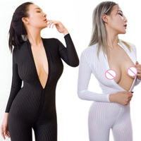 2017 New Sexy Lingerie Hot Open Crotch Striped Sheer Bodystocking Bodysuit Porn Underwear Babydoll Long Sleeves