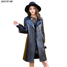 2018 New Women Autumn Spring Leather Jacket Long Slim Adjustable Waist Black Genuine Leather Coat Sheepskin Sashes Outwear AC248