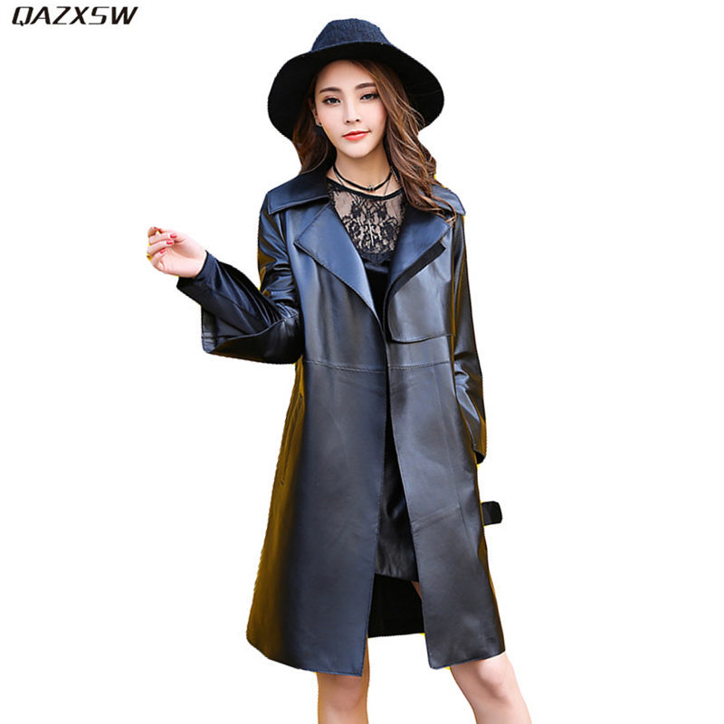 2019 Nouveau Femmes Automne Printemps veste en cuir Longue Taille Mince Réglable cuir véritable noir Manteau en peau de Mouton Ceintures Manteaux AC248