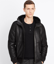 Shearling Bomber jacket with hood 2015 new style man's fur leather jacket