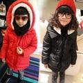 Бесплатная доставка Зима новый мальчики девочки шерсти ягнят с капюшоном хлопка ватник детская одежда