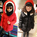 Free shipping Winter new boys girls lambs wool hooded cotton quilted jacket children clothing
