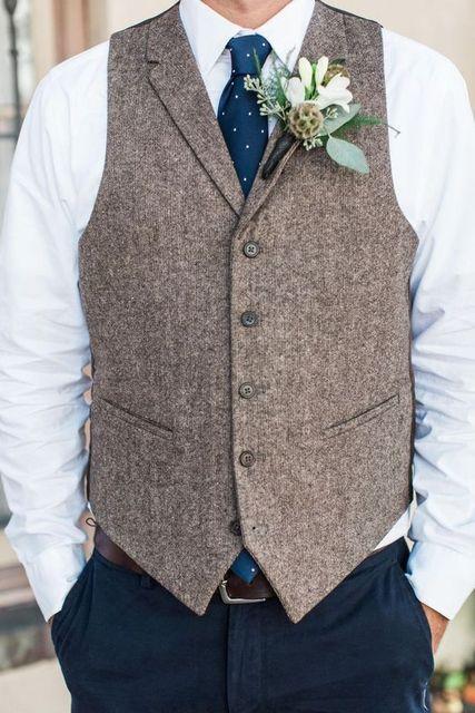 a5b24c2d467ef Siyah Yün Balıksırtı Tüvit Yelek Notch yaka Erkek Suit Yelek Custom Made Damat  Yelekler Vintage Düğün