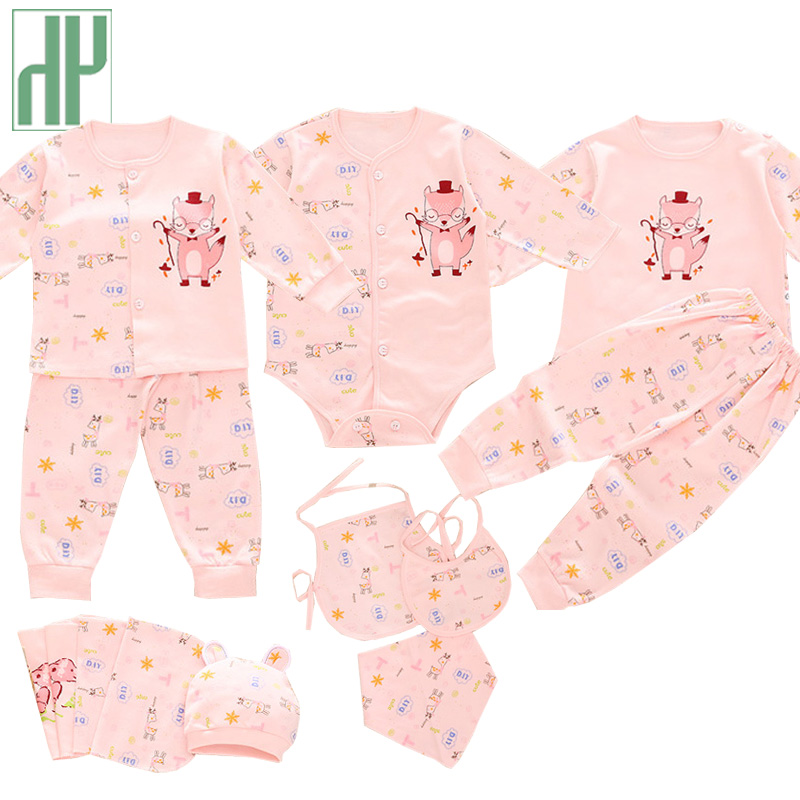 (13pcs/set)Newborn Baby 0-12M Clothing Set cartoon fox long Sleeve new born baby clothes Boy/Girl Baby outfit christmas gift baby fox print clothes set newborn baby boy girl long sleeve t shirt tops pants 2017 new hot fall bebes outfit kids clothing set