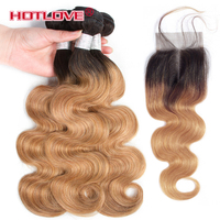 Hotlove Body Wave Ombre Hair Brazilian 3 Bundles with Closure 4*4 Lace Closure Non Remy Human Hair Extensions T1B/27 Blonde Hair
