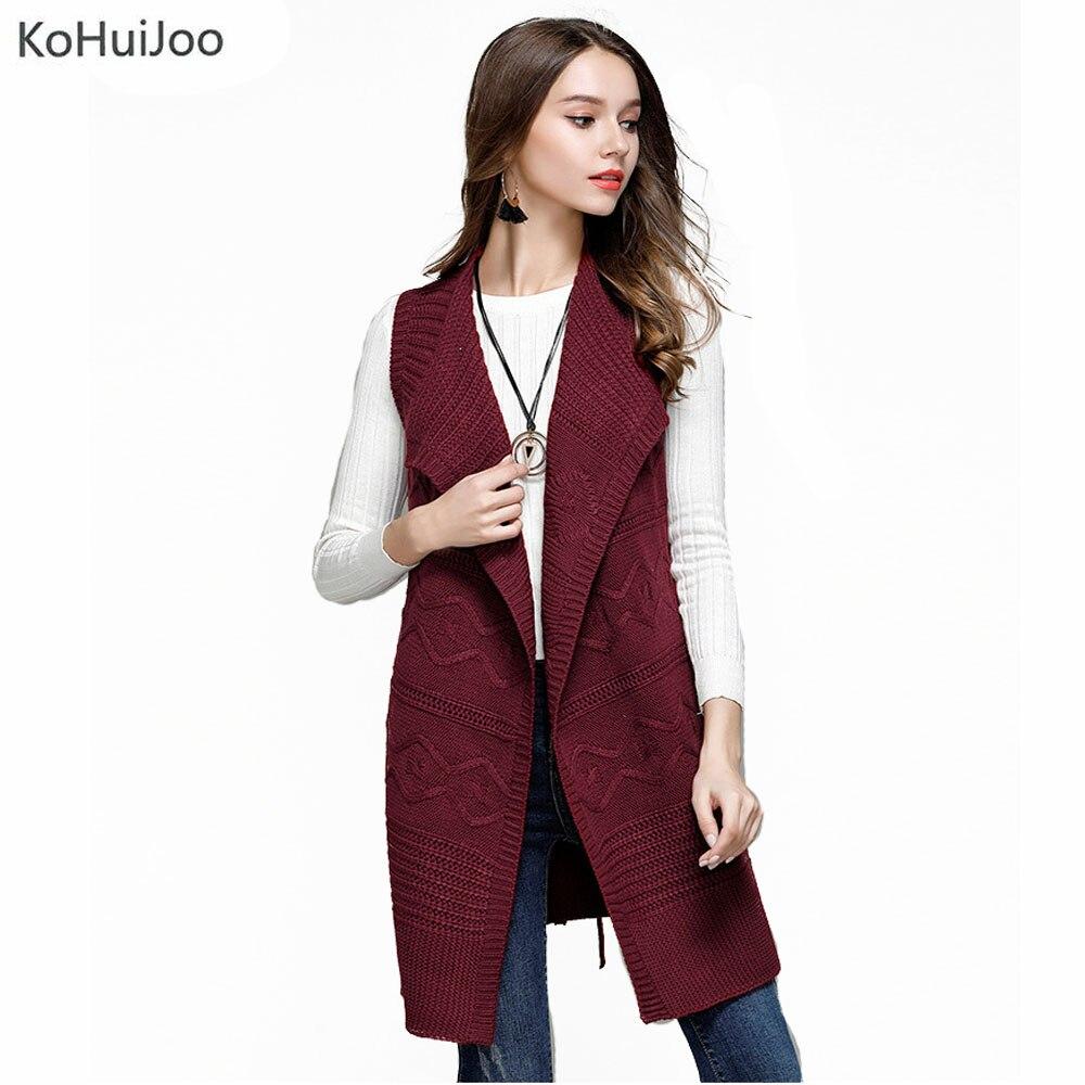 KoHuiJoo 2018 Fall Women Knitted Vest Jacket Sweater Waistcoat Casual Sleeveless Cardigan Plus Size Female Open Stitch Outwear